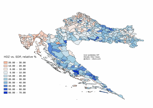 HDZ vs. SDP's 2019 EU election results mapped, relative percentage of votes