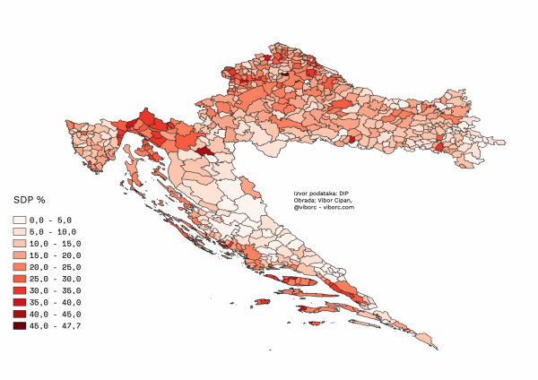 SDP's 2019 EU election results mapped, percentage of votes