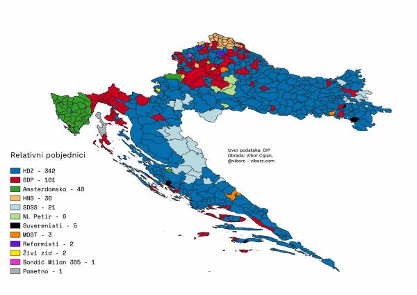 The results of 2019 EU elections in Croatia, per municipality, relative winners
