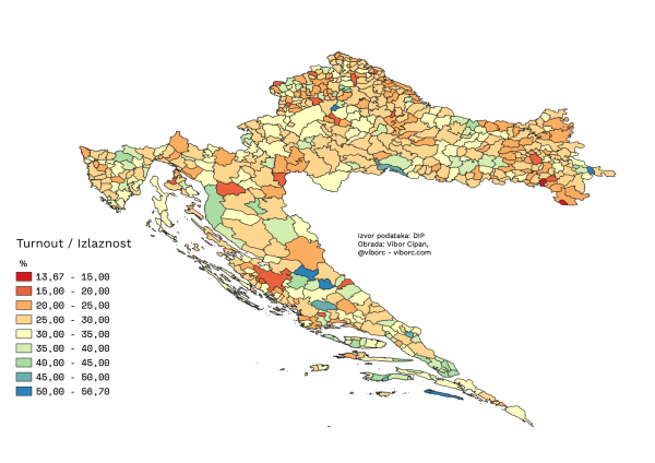 The results of 2019 EU elections in Croatia, per municipality, voter turnout
