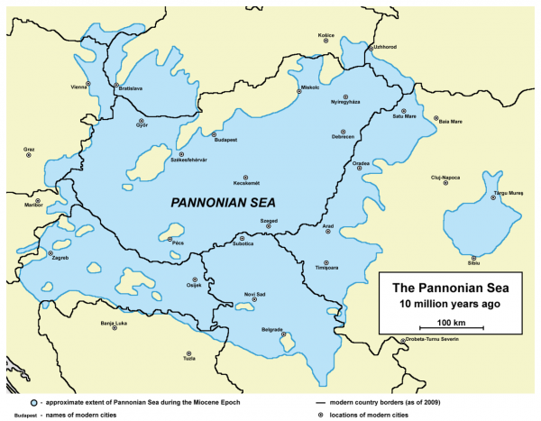 Wikipedia map of the Pannonian Sea with the present-day borders