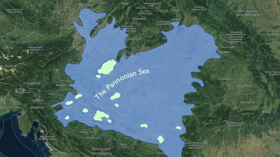 Rough map of the extent of the Pannonian Sea