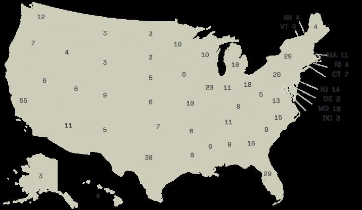Elektorska mapa SAD-a za 2020. godinu.