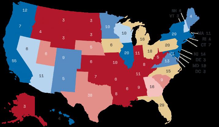 Karta koja oslikava (ugrubo) stanje po anketama. Crveno su republikanci, modro - demokrati, a žutom bojom su označene države oko kojih postoji dosta neizvjesnosti.