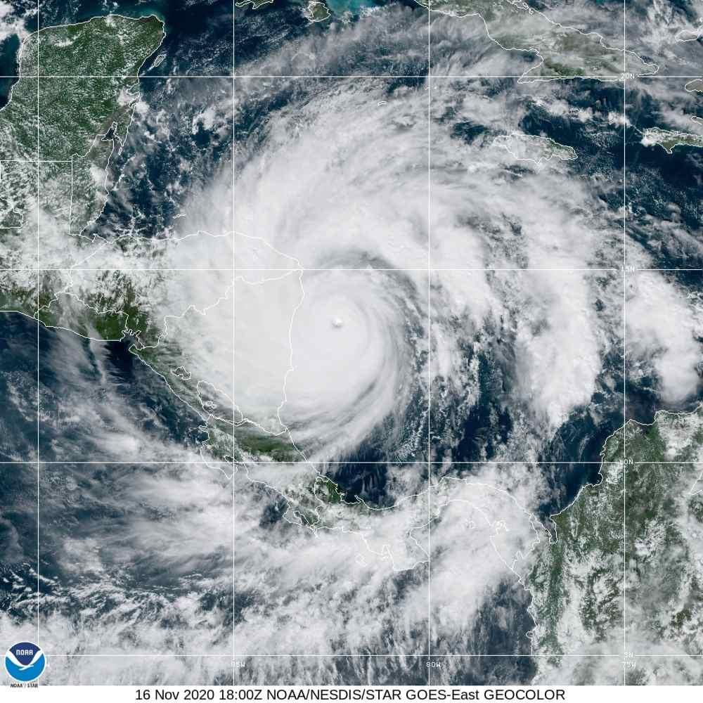 Prikaz uragana Iota kako ga vidi GOES satelit. Ljubaznošću NASA/NOOA