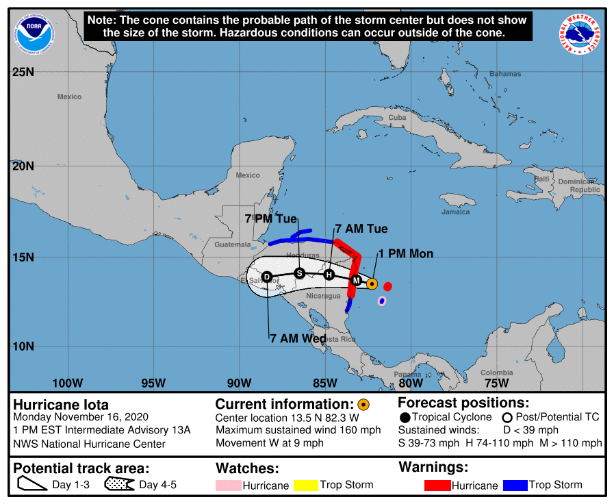 Hurricane Iota is expected to move in the coming days