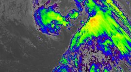Storm Theta at 18:30, 10.11.2020. as seen by the GOES-East satellite, the wavelength is 10.35 µm, channel 13, and the spatial pixel resolution is 2km. Courtesy of NASA / NOOA.