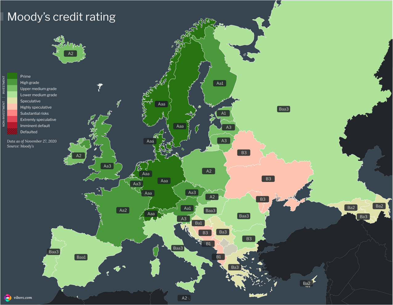 Map of Europe with the Moody's credit ratings in 2020