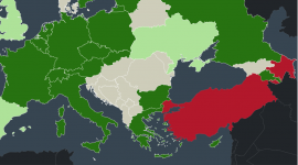 Map of countries in Europe, Russia and Turkey and their status of Armenian Genocide recognition.