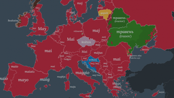 "The word ""May"" in different languages of Europe - based on etymology."