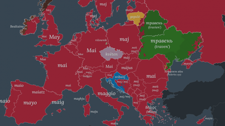 """The word """"May"""" in different languages of Europe - based on etymology."""