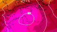 GFS output for AUgust 11 in Europe showing